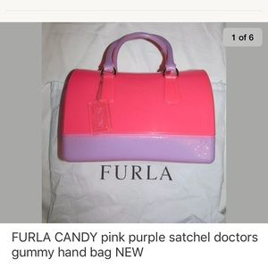 FURLA CANDY pink purple doctors satchel bag NEW